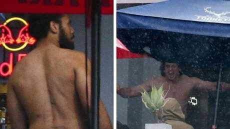 Naked antics are seen from street despite being in private section. Picture: Justin Lloyd