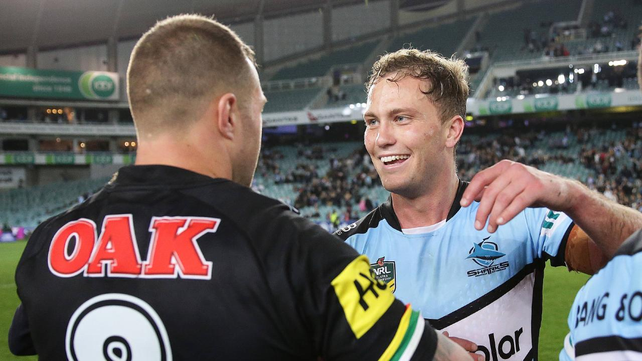 Cronulla's Matt Moylan celebrates victory after downing Penrith in their semi-final. Picture: Brett Costello