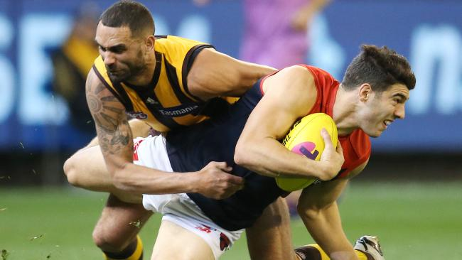 """""""Chaos"""" and contested ball have become the Demons' trademark, says Christian Petracca. Picture: Michael Klein"""