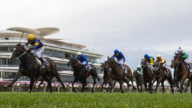 Grunt leads the field in the Makybe Diva Stakes. Picture: Getty Images