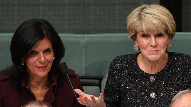 Liberal member for Chisholm Julia Banks and former Liberal deputy leader Julie Bishop during Question Time. Picture: AAP