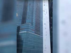 VIDEO: Before and after typhoon blasts skyscraper's windows