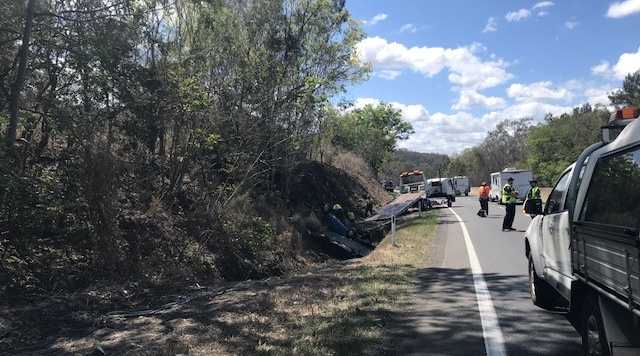 Emergency services on the scene of a crash on the Toowoomba Range on September 18 2018.