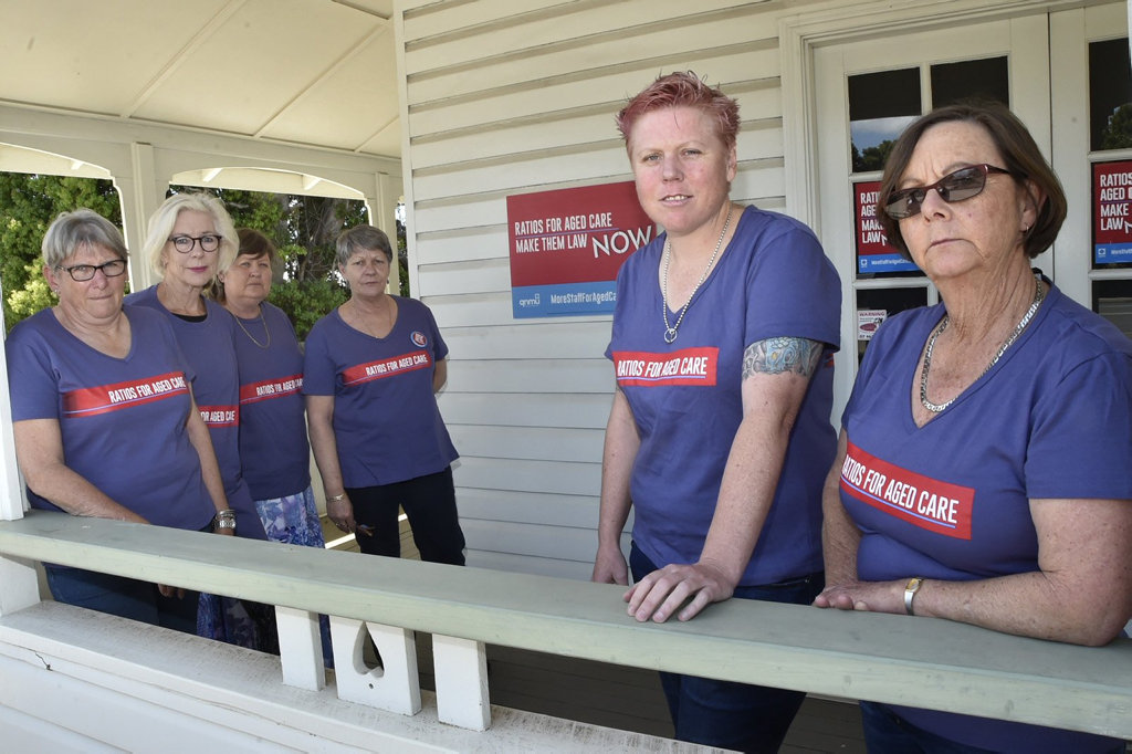 Union members Auriel Robinson, Kym Volp, Debbie Lindgren, Helen Andersen, Melynda McArthur and Veronica Pyke were glad to hear the Federal Government had announced a Royal Commission into aged care. September 2018