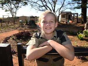 Summer Farrelly in her chook garden at Community