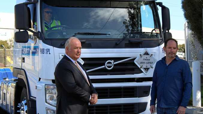 INCENTIVE: VTA chief executive Peter Anderson and MTAG secretary Martin Wurt in front of a Euro 5 prime mover.