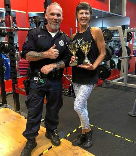 Deb Brown with Sgt Dom Richardson from the PCYC gym