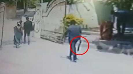 CCTV footage shows a man at the scene with a machete. Source: The Sun