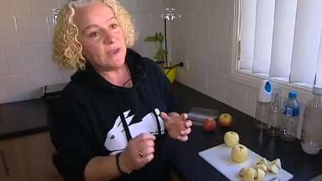 A screengrab showing mum Carmela Decarlo who found a pin in a pink lady apple. Picture: Seven Network