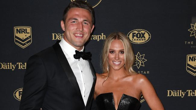 Phoebe Burgess break silence with Instagram post after her Rabbitohs husband Sam Burgess was embroiled in a sexting scandal. Picture: AAP