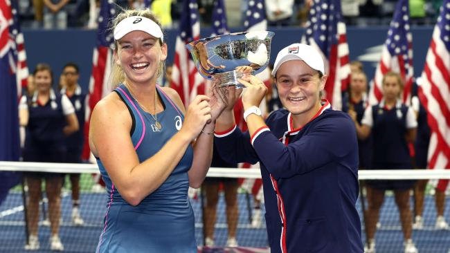Ash Barty and doubles partner CoCo Vandeweghe celebrate winning the US Open title. Picture: Getty