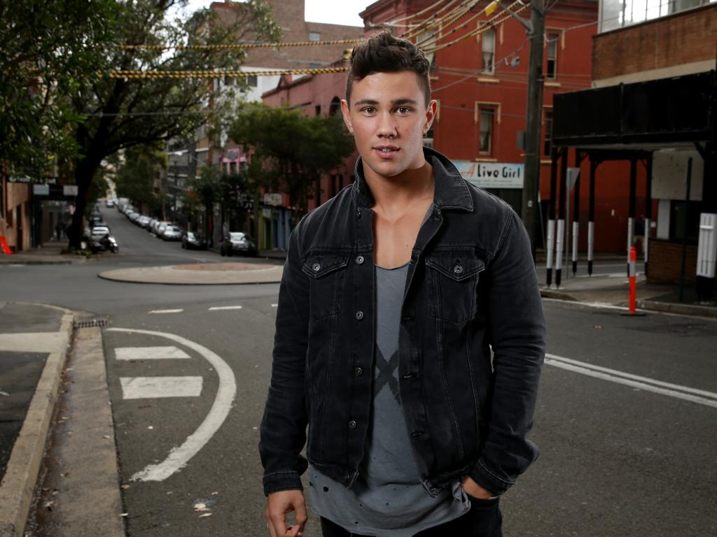 Actor Orpheus Pledger from Home and Away at the scene on Kippax St in Surry Hills where he saved a woman who was being attacked. Picture: Jonathan Ng