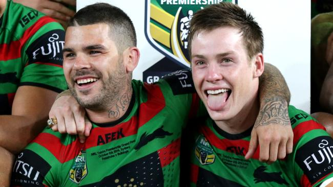 South Sydney's Adam Reynolds and Luke Keary during the 2014 NRL Grand Final between the South Sydney Rabbitohs and the Canterbury Bankstown Bulldogs at ANZ Stadium .Picture Gregg Porteous