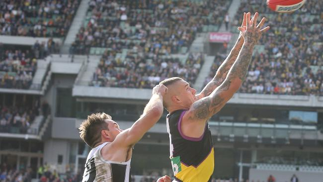 Levi Greenwood got the job on Dustin Martin in Round 19. Picture: Michael Klein