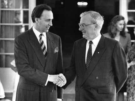 Governor-general Bill Hayden (right) after swearing in Paul Keating as prime minister after Bob Hawke was defeated in a Labor leadership ballot