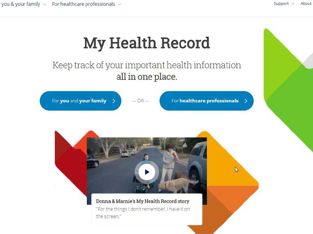 The My Health Record government website has crashed as well. Picture: Supplied