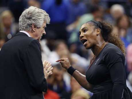 Serena Williams also has a stoush with referee Brian Earley. Picture: AP