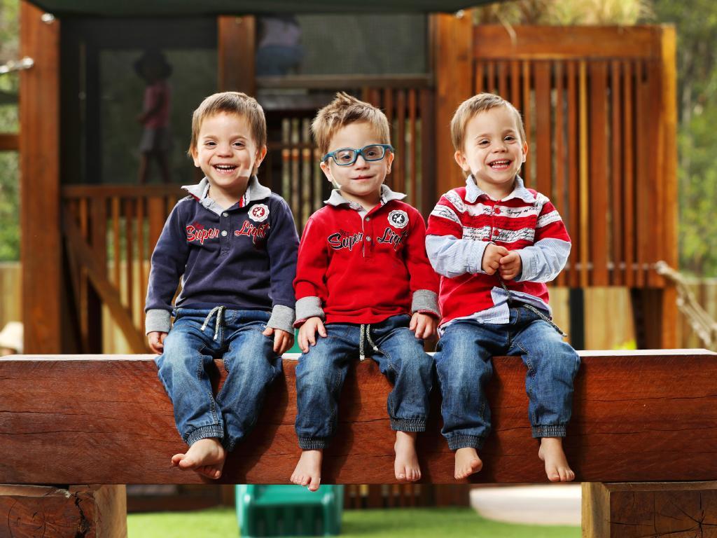 The three-year-old Danson triplets (from left) Lyrik, Phoenix and Noah. Picture: Nigel Hallett