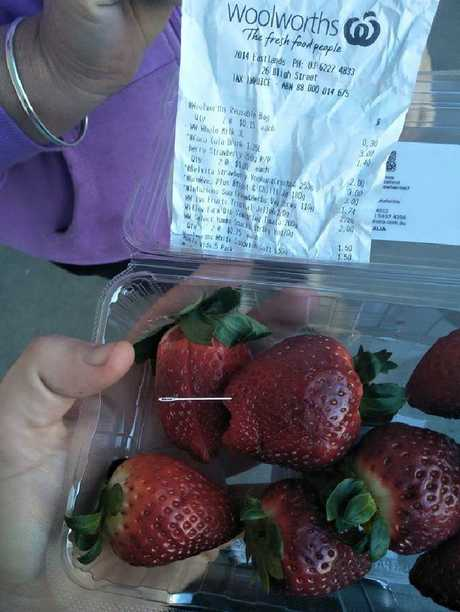 An image posted on Facebook from a shopper claiming a needle was found in strawberries bought in Hobart.
