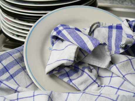 Add a tea towel to your clothes in the dryer