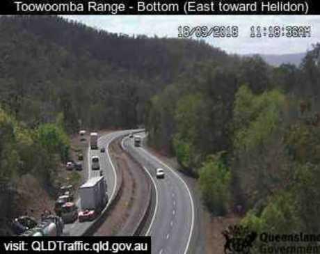 Emergency services on scene of single-vehicle crash on the Toowoomba Range.