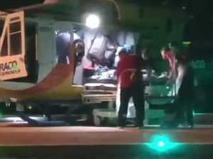 Shark attack victim arrives at hospital