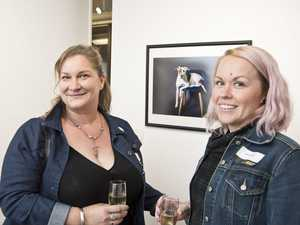Maree Ashford (left) shows her work Rescue to Jess