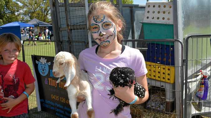Madi Milward has her hands full at the petting zoo.