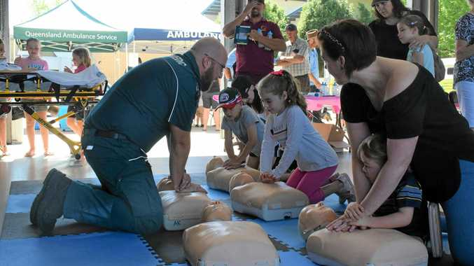 AMBO OPEN DAY: Paramedic Anthony Downes guides an interactive CPR session on September 15.
