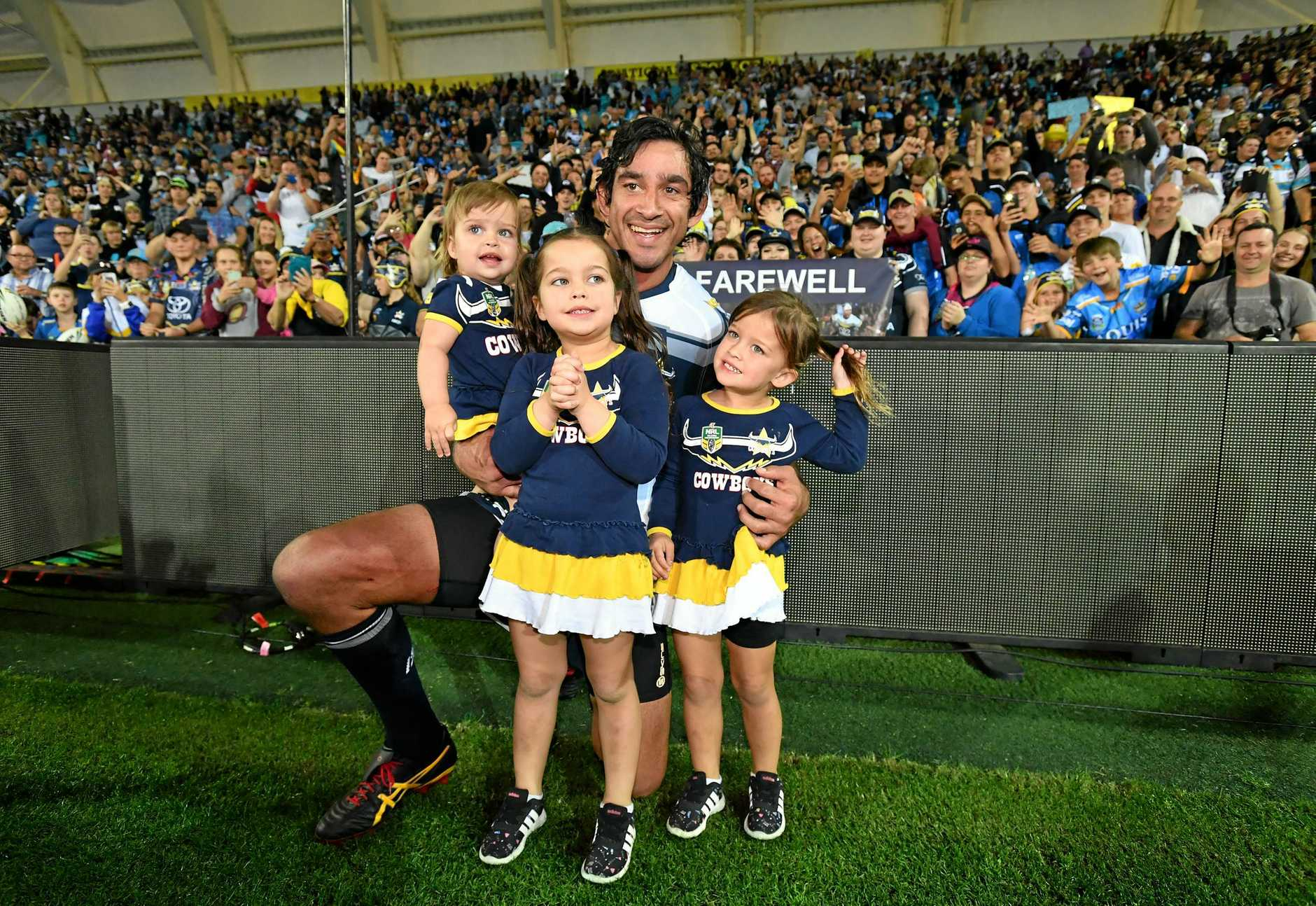 Johnathan Thurston of the Cowboys is seen with his children Lillie (left) Frankie (centre) and Charlie after playing his final NRL game during the Round 25 NRL match between the Gold Coast Titans and the North Queensland Cowboys at Cbus Super Stadium on the Gold Coast, Saturday, September 1, 2018. (AAP Image/Darren England) NO ARCHIVING, EDITORIAL USE ONLY