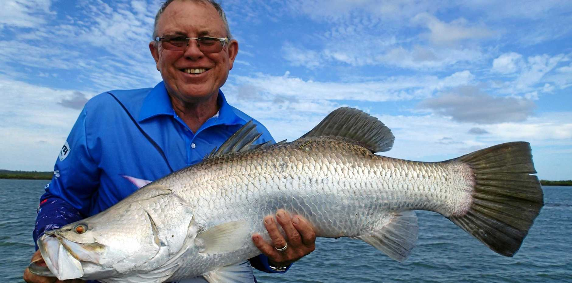 FISH ON: Bill O'Reilly with his 960mm Barra caught at Port Alma will have an easier time getting on the water once two new boat ramps were built.