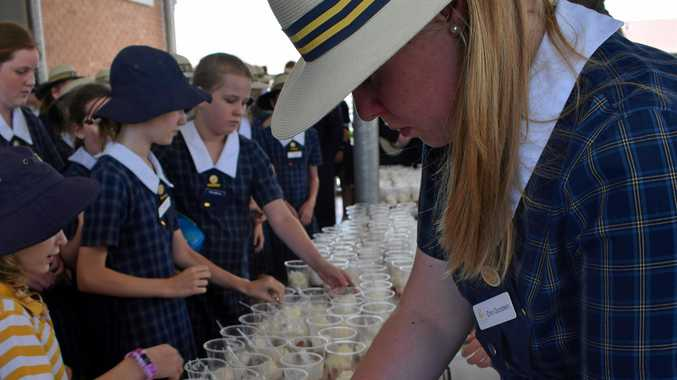 TASTY TRIBUTE: Students from Rockhampton Girls Grammar School line up to get their strawberries and ice cream to show their support for Australian strawberry farmers.