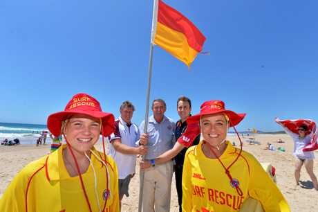 Jade Leckie, Brett Leckie, Greg Cowie, Aaron Purchase and Liz Leckie are celebrating the joint arrangement of Peregian Surf Club and Noosa Surf Club which kept patrols going at Peregian, six months after the club collapsed. Photo: John McCutcheon / Sunshine Coast Daily