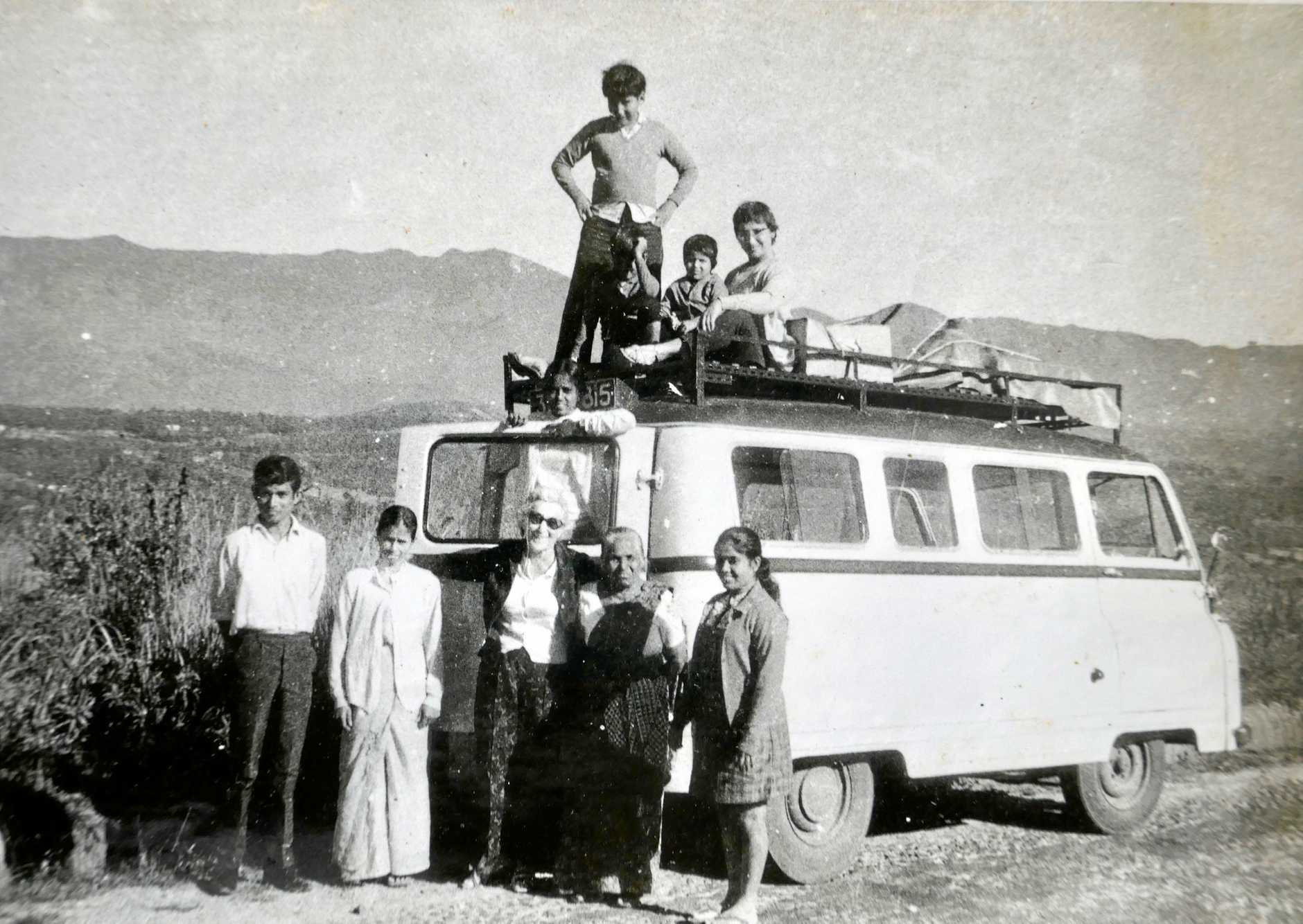 A young Peter Kuruvita (roof top) during his family's overland voyage from London to Sri Lanka in a minibus purchased from the Thunderbirds set.