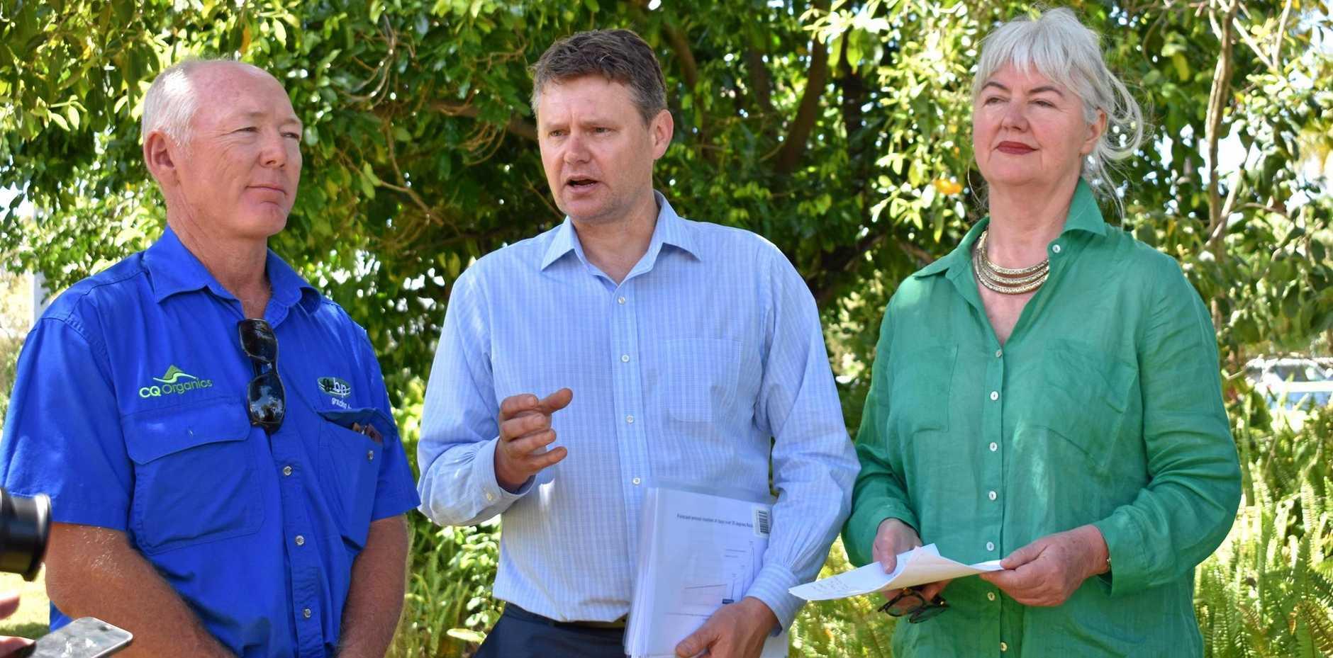 Rockhampton grazier Mick Alexander, Australian Institute principal advisor Mark Ogge and ANU's Dr Elizabeth Hanna.