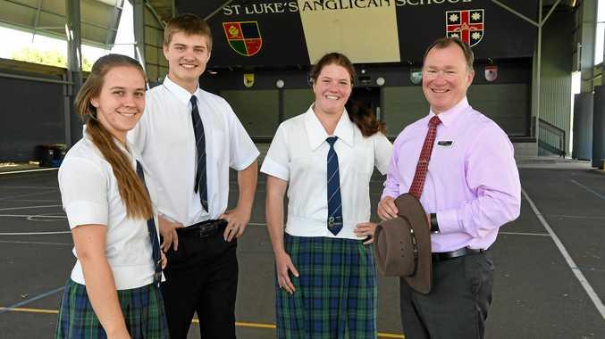 STRONG PERFORMANCE: St Luke's Anglican School students Amy Collyer, Marcus Van Der Westhuizen, Josie McLean and principal Craig Merritt.