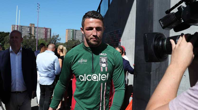 South Sydney's Sam Burgess fronts the media at Redfern Oval. Picture: Brett Costello