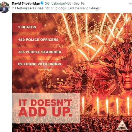 Greens MLA David Shoebridge took to Twitter in support of pill testing.