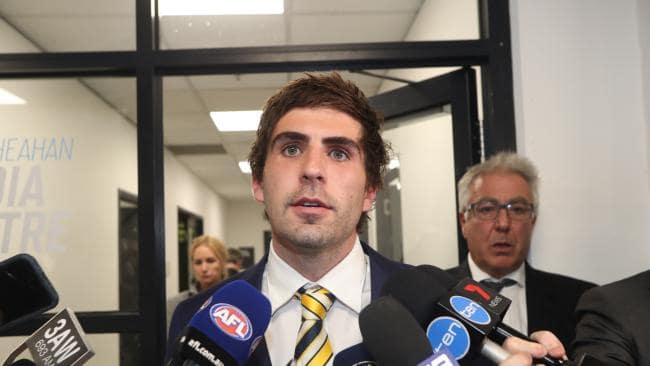 Andrew Gaff speaks to the media after his punch. Picture: David Geraghty / The Australian
