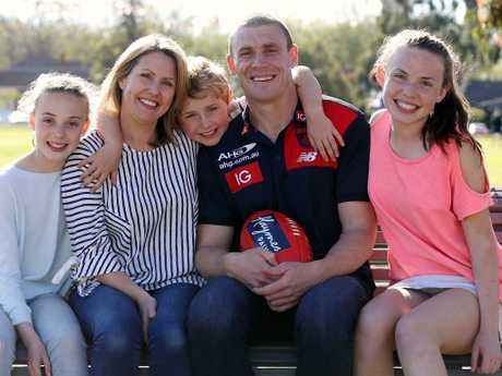 Simon Goodwin with wife Maggie, son Eddie and daughters Isabella (left) and Lily. Picture: Wayne Ludbey