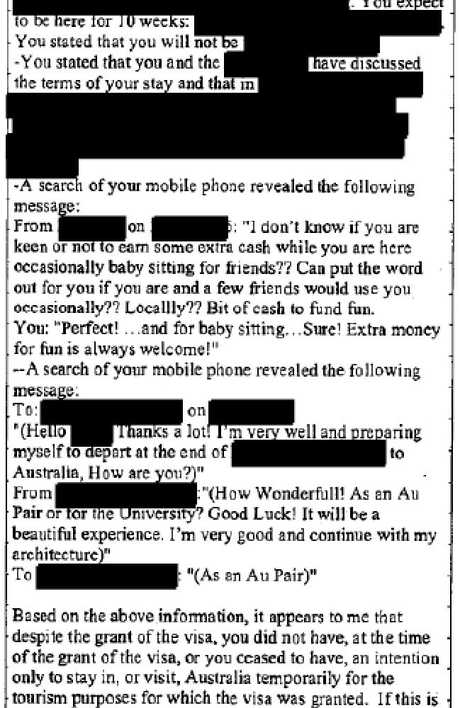 Images from an immigration department file of a transcript between departmental officials and the au pair over her intention to work in Australia. The document is one of 169 pages released today by the Senate committee.