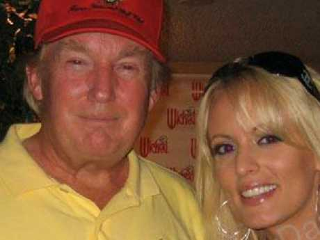 Donald Trump with Stephanie Clifford, whose stage name is Stormy Daniels, in a 2006 photo. Picture: Supplied