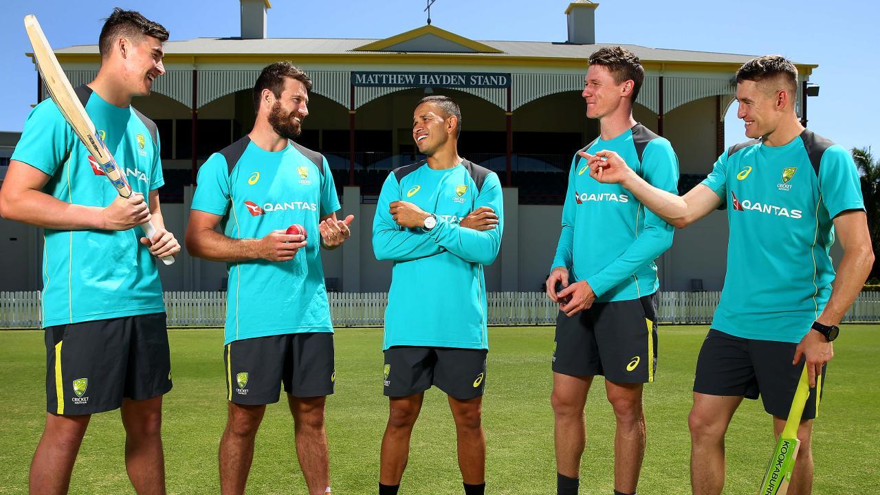 The five Queensland Bulls players in Australia's Test squad (l-r)  before they depart for UAE. Matt Renshaw, Michael Neser, Usman Khawaja, Brendan Doggett and Marnus Labuschagne. Pictre Adam Head