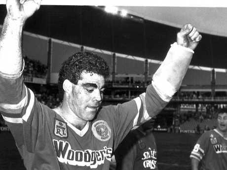 Mal Meninga celebrates a Canberra victory.