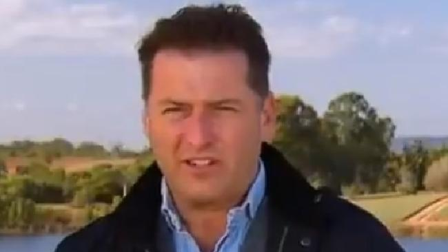 Karl Stefanovic covering the strawberry crisis on the Today Show. Picture: Channel 9