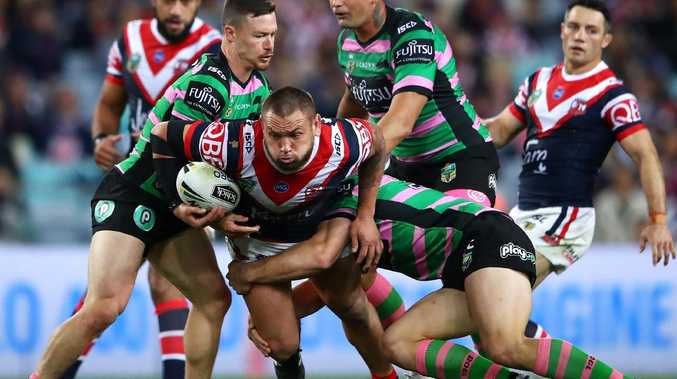 Jared Waerea-Hargreaves on the charge against the Rabbitohs in Round 22.
