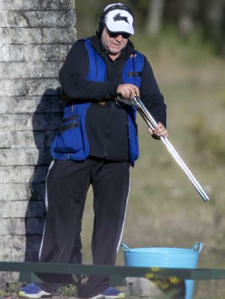 Crowe used two at least two shotguns during the private Clay Shooting afternoon at Coffs Harbour. Picture: Diimex