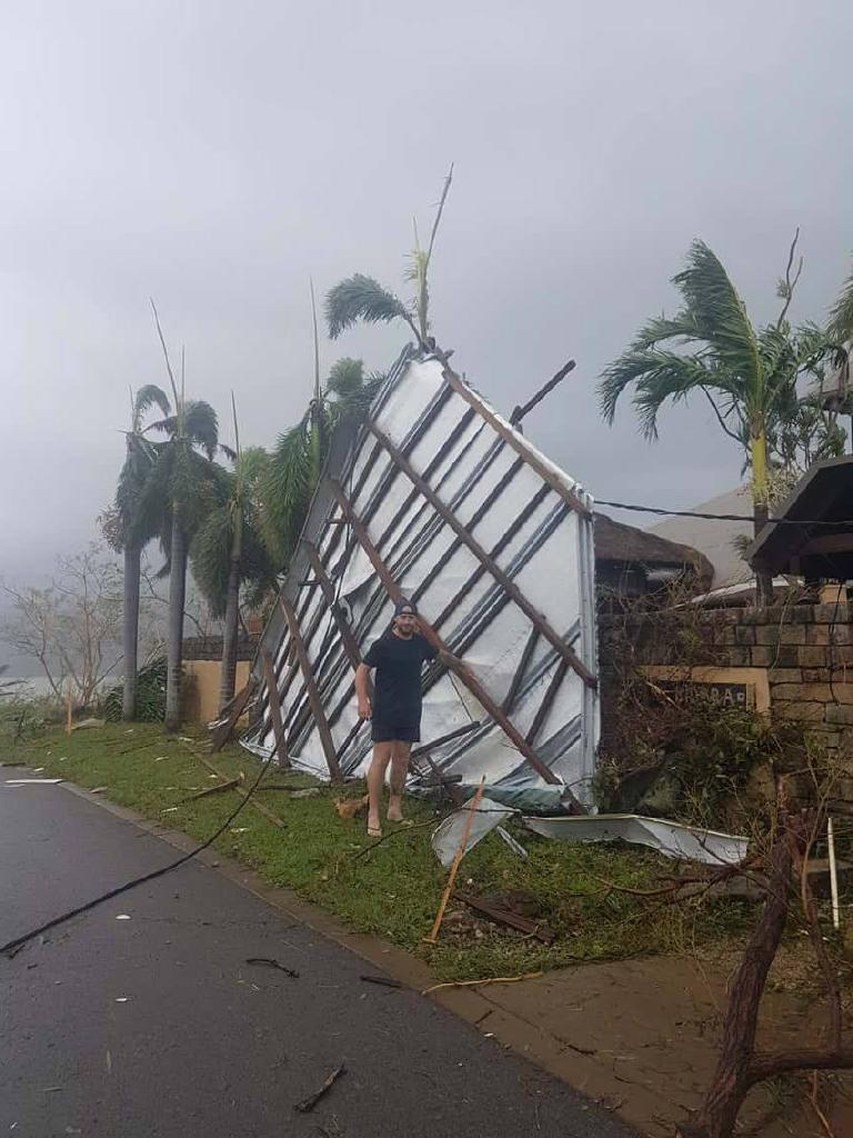 Damage caused by Cyclone Debbie when it ripped through Airlie Beach. Picture: supplied.