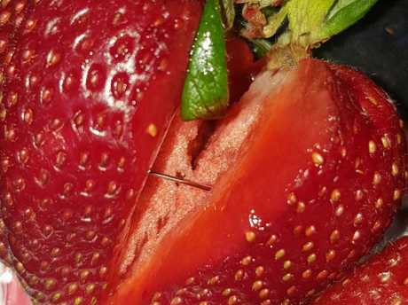 Needle found in strawberry purchased from Foodland in Jamestown. Picture: Supplied