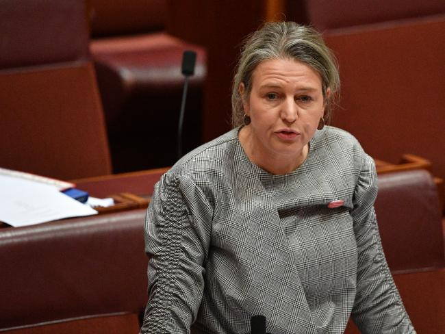 Labor Senator Louise Pratt hands down the report into Peter Dutton's au pair intervention. Picture: AAP
